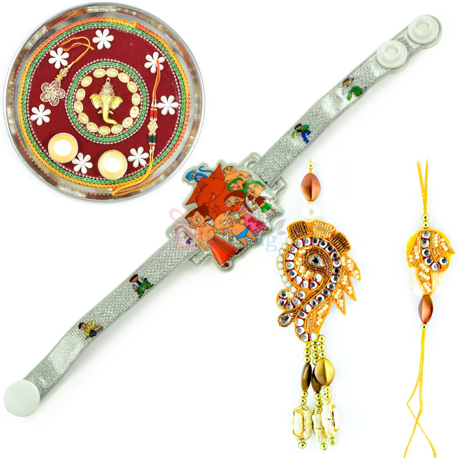 Ganesha Mauli Rakhi Thali with Pair and Kids Rakhi