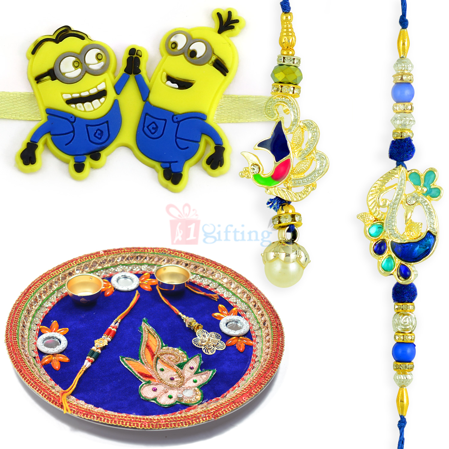 Minion Kids and Peacock Pair Rakhi with Rakhi Pooja Thali
