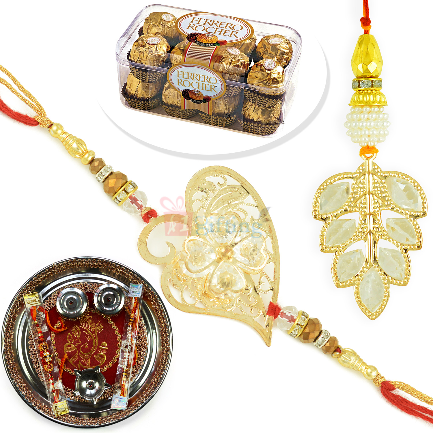 Leaf Pair Rakhi with Ferrero T16 and Rakhi Pooja Thali