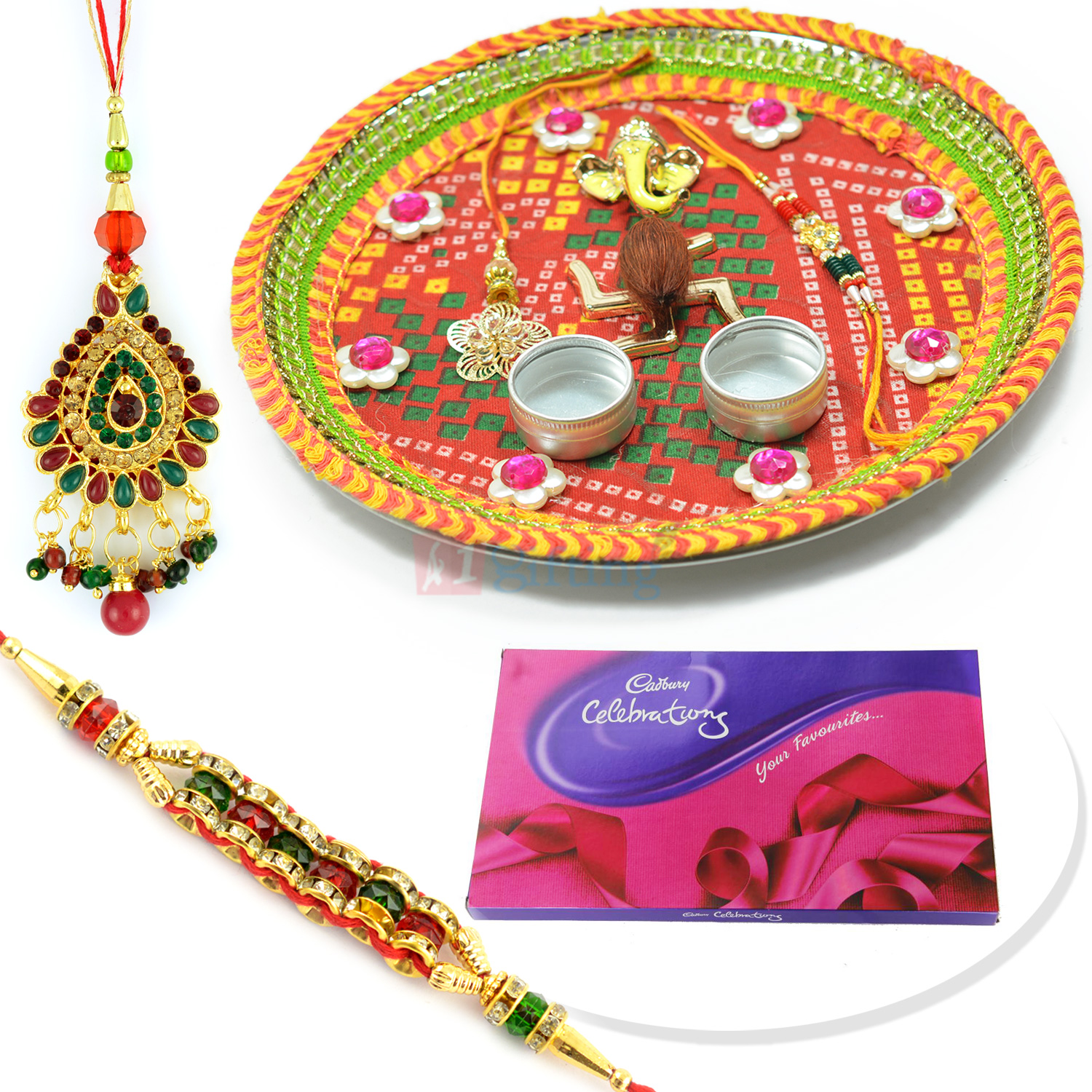 Mauli Chunari Rakhi Pooja Thali with Pair Rakhi and Cadbury Big Celebration