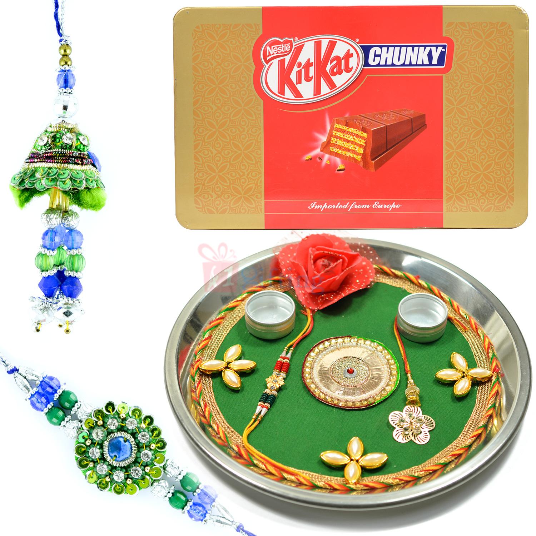 Kitkat Chunky with Pair Rakhi and Rakhi Pooja Thali Hamper