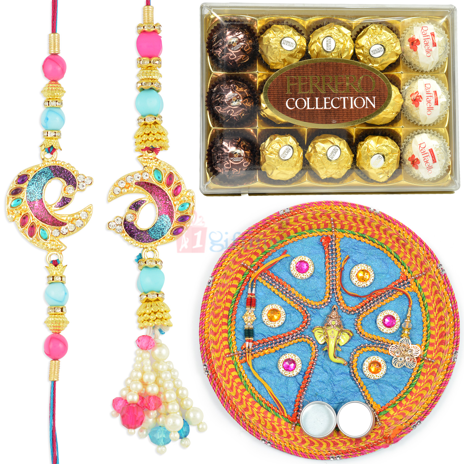 Peacock Pair Rakhi with T15 Ferrero and Mauli Rakhi Pooja Thali