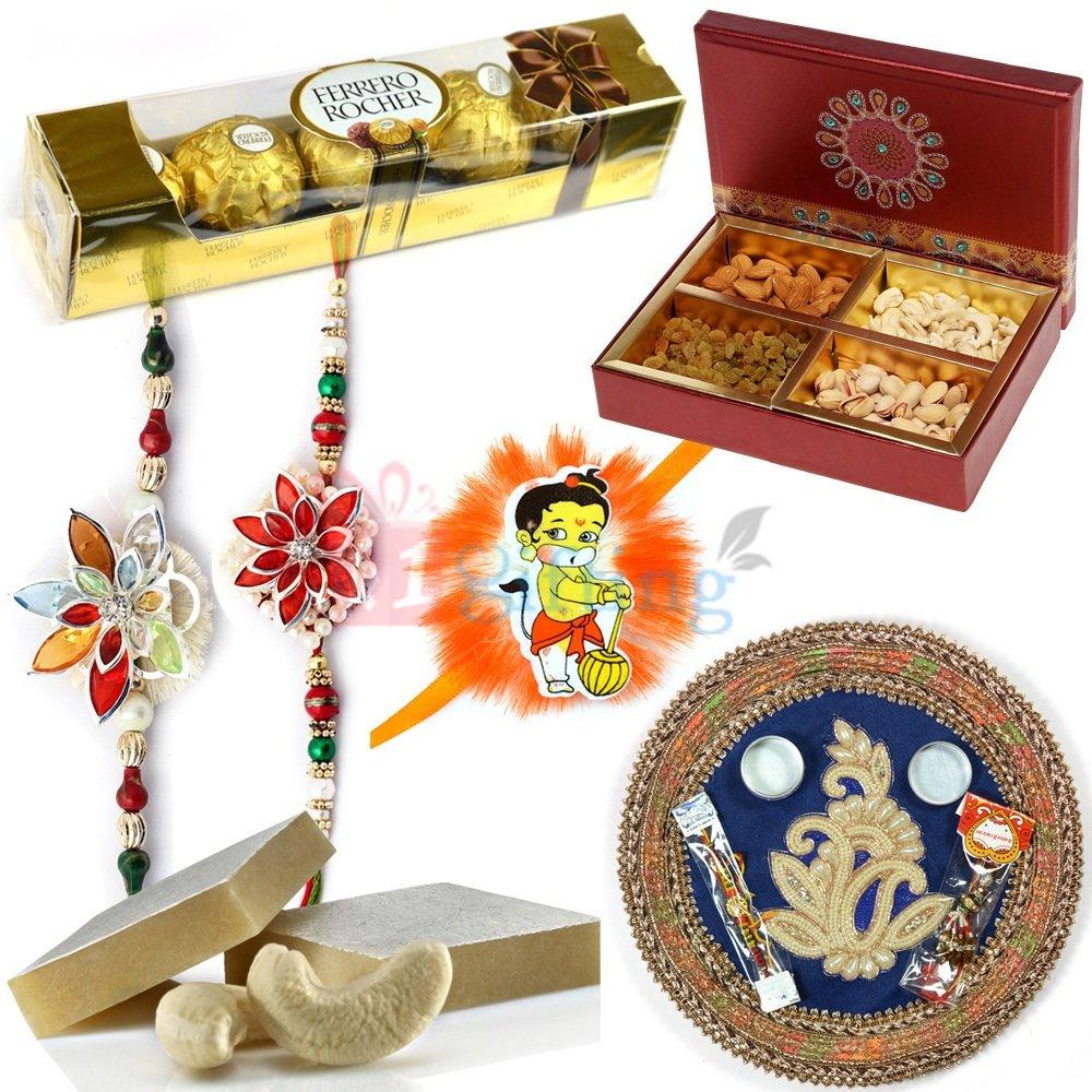 Marvellous Designer Pooja Thali Combo Rakhi Gift Hamper