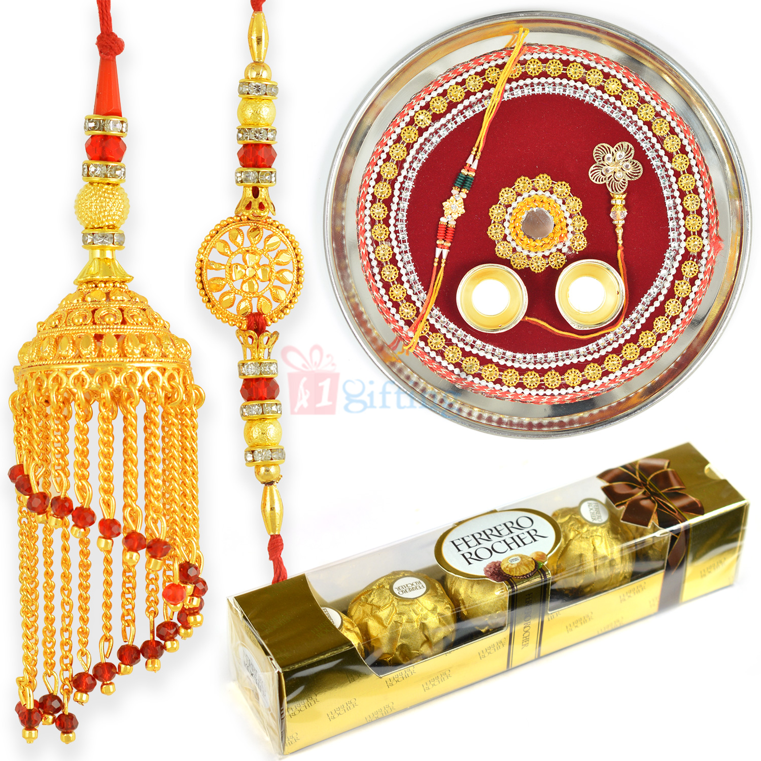 Ferrero T4 Chocolate with Golden Touch Pair Rakhi and Pooja Thali
