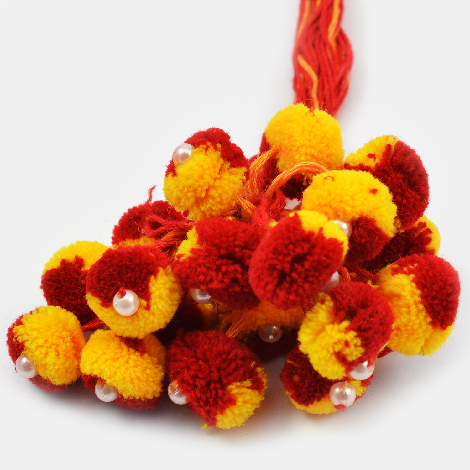 Traditional Yellow and Red Ram Rakhi Set of 20 with Pearl