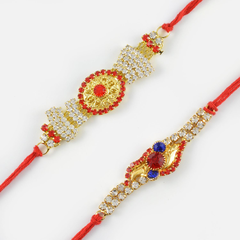 Designer Rakhi Combo of Diamonds and Kundan Craft Work