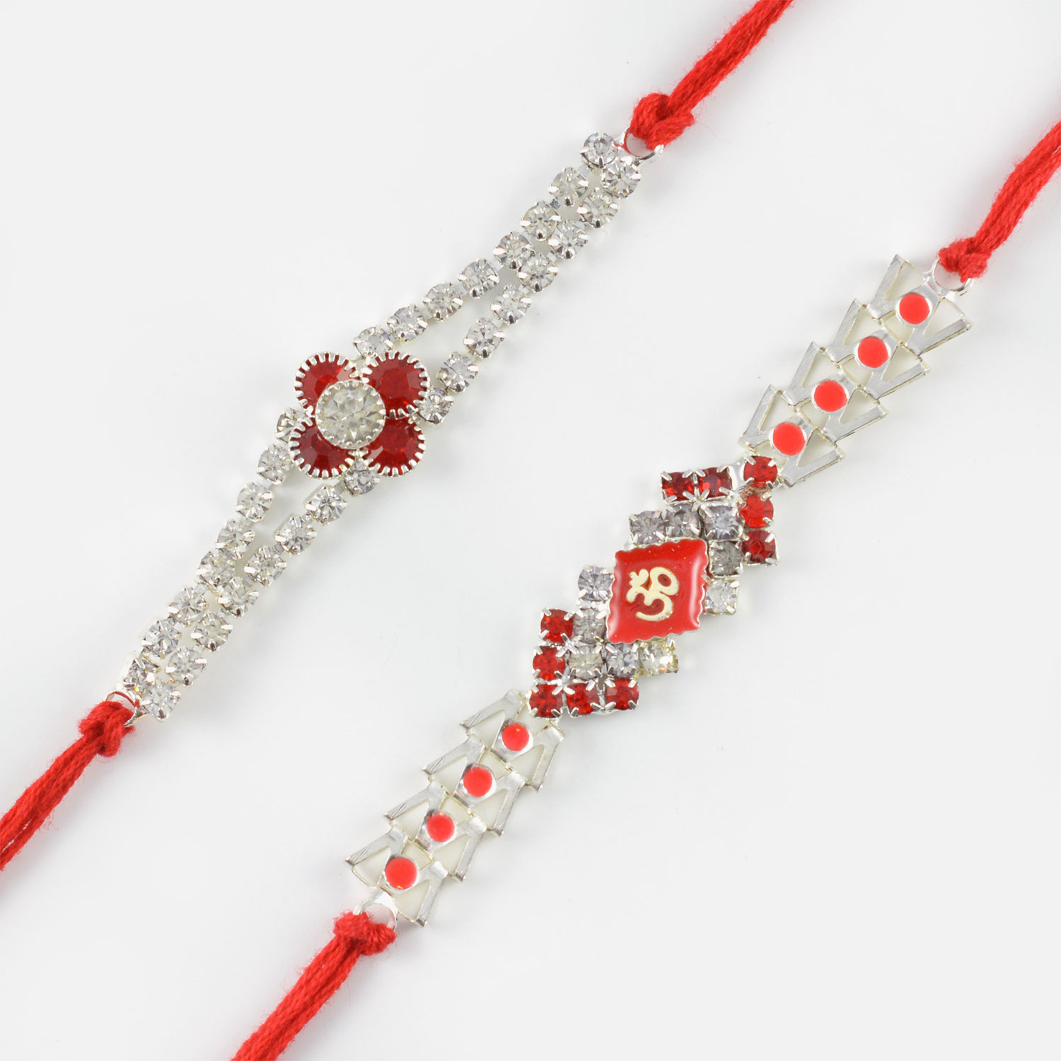 Silver Lining with Red Diamonds Rakhi Set