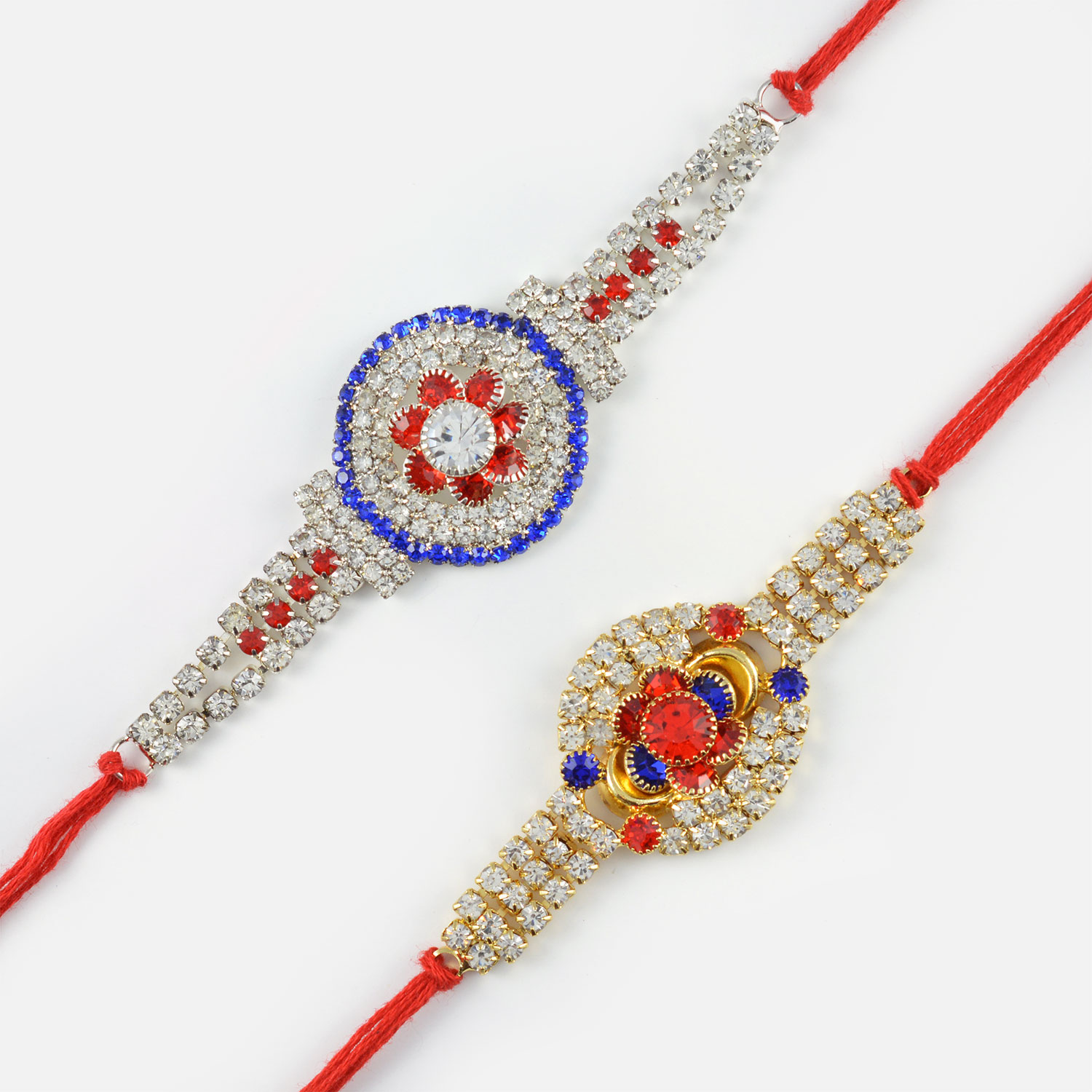 Rakhi Set of Multi-Coloured Diamonds