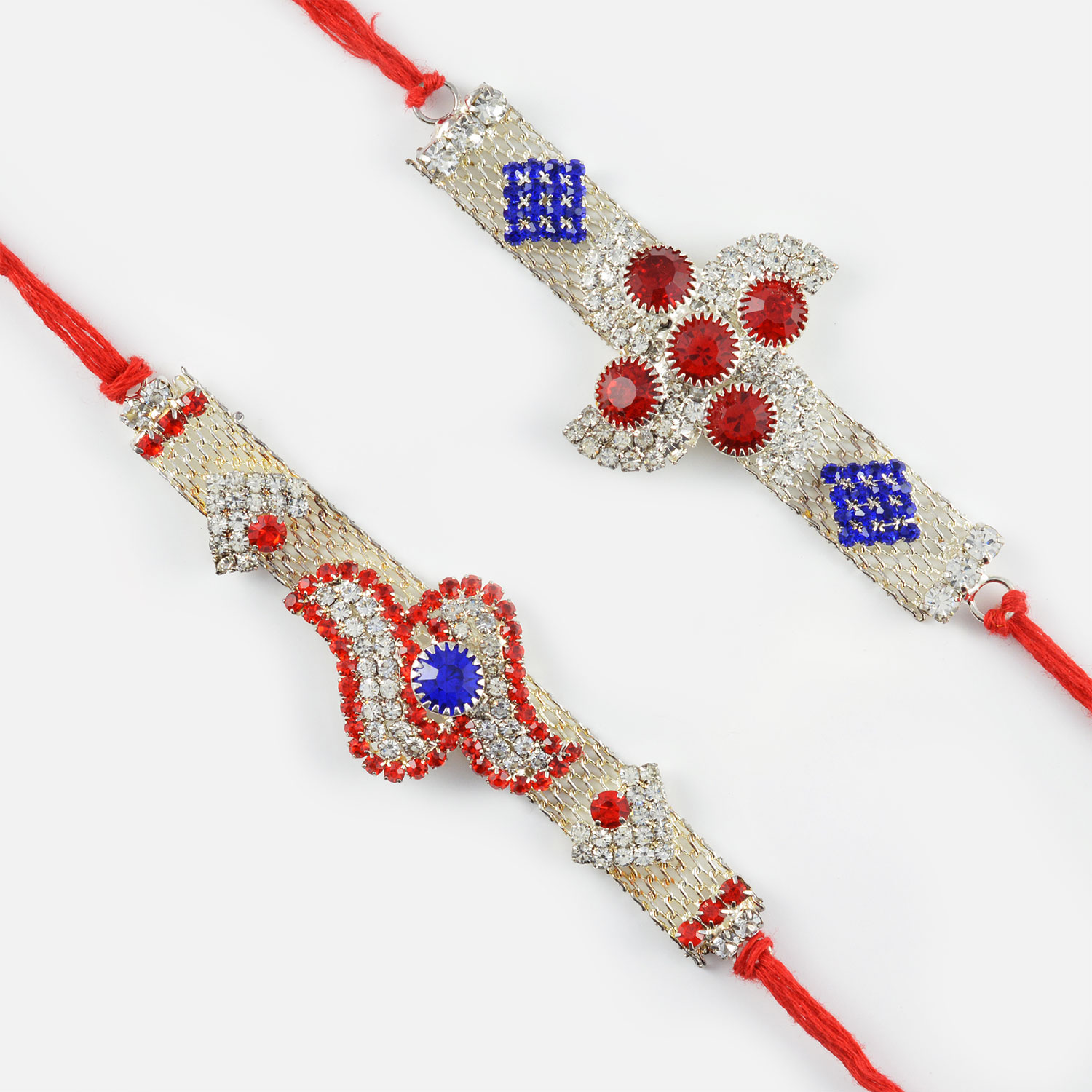Authentic Red and Silver Rakhi Set of 2