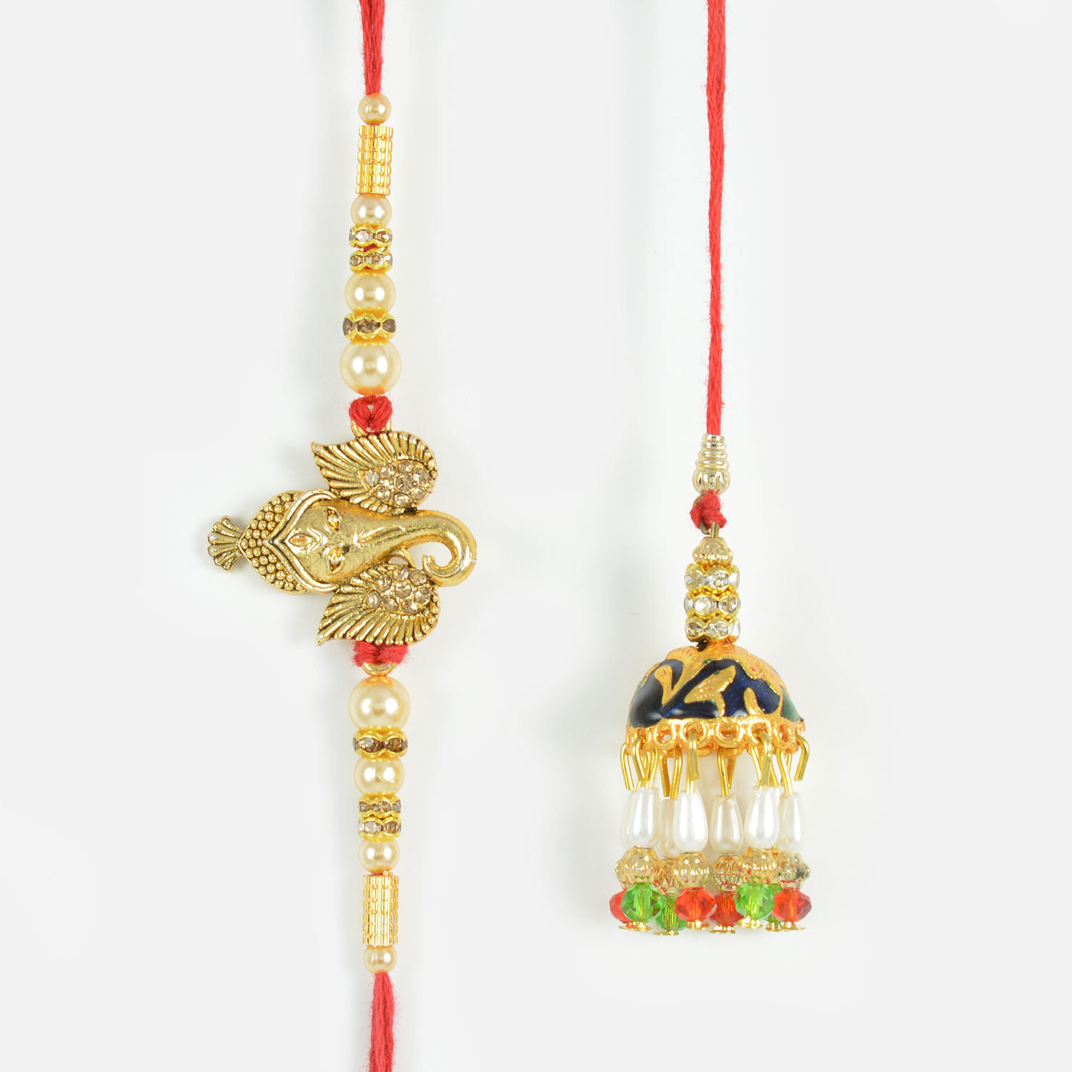Golden Gajanan Bhaiya and Beautiful Glass Beads Lumba Rakhi Set of 2