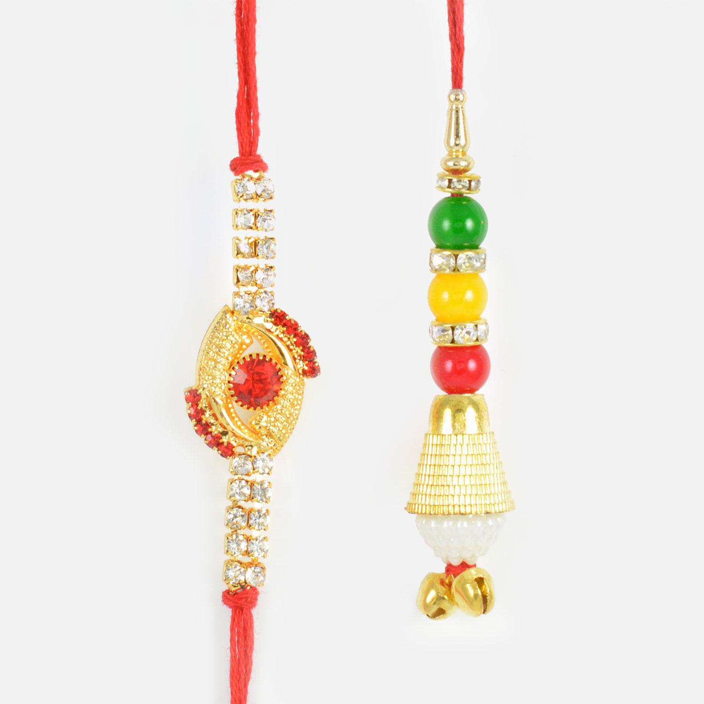 Red Kundan and Beads Bhaiya-Bhabhi Rakhi Set of 2