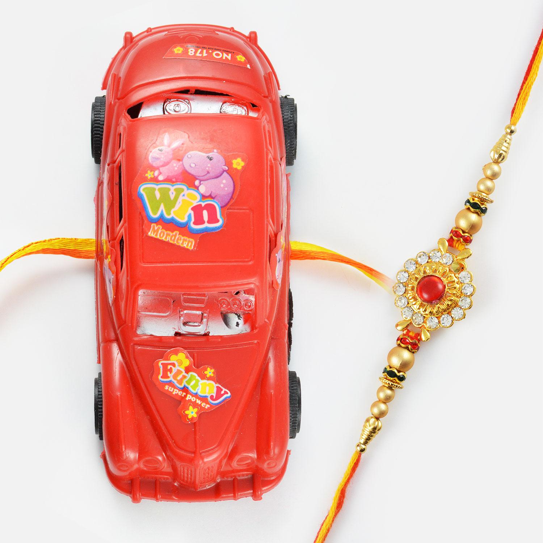 Lightning Fast Super Car and Beautiful Diamond Worked Rakhi Set of 2