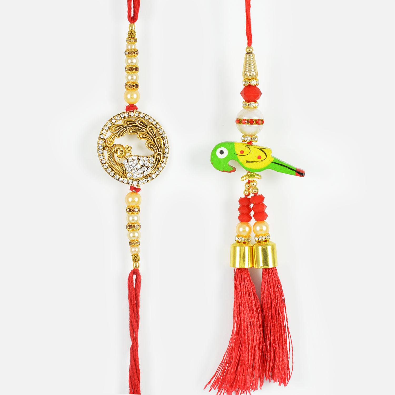 Graceful Mayur and Parrot Rakhi Set of 2