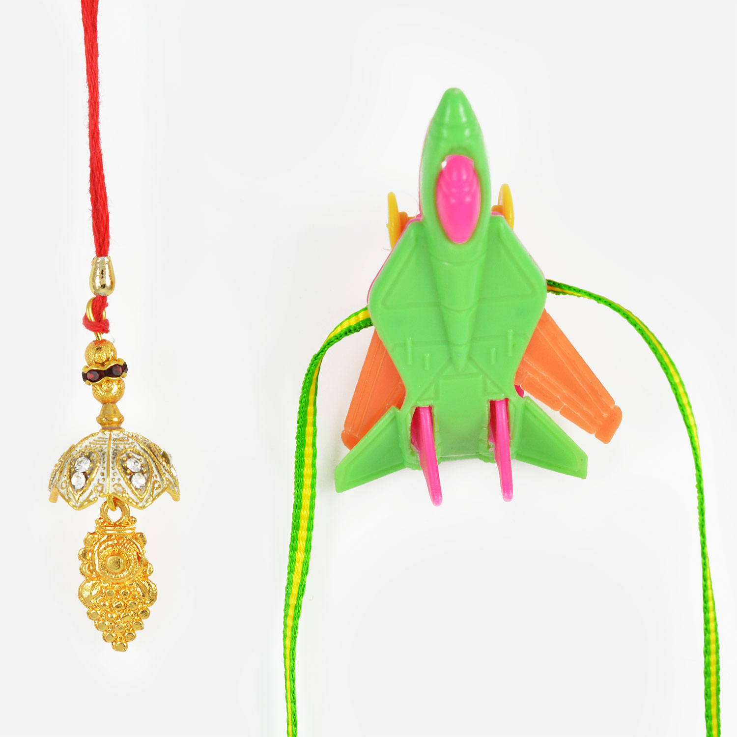 Beautiful Golden Lumba with Spacecraft Kids Rakhi Set of 2