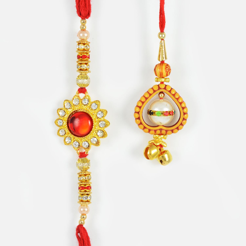 Red Kundan Meena and Gorgeous Lumba Bhaiya-Bhabhi Rakhi Set of 2
