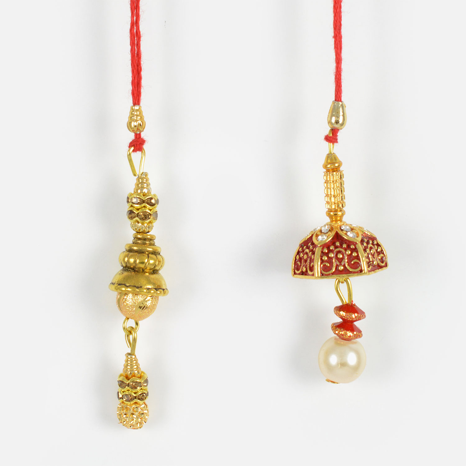 Mesmerizing Twin Golden Set of Lumba Rakhis