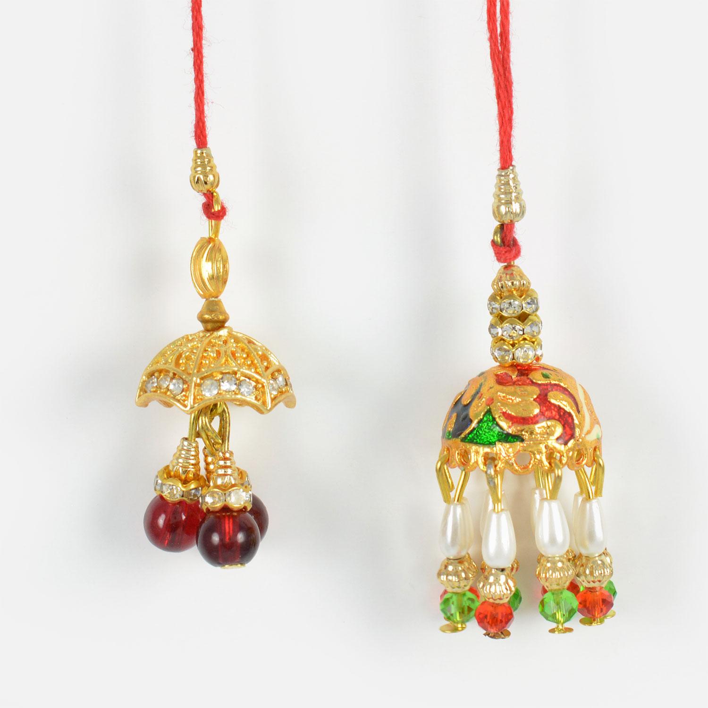 Beautifully Crafted Pair of Lumba Rakhi Set of 2
