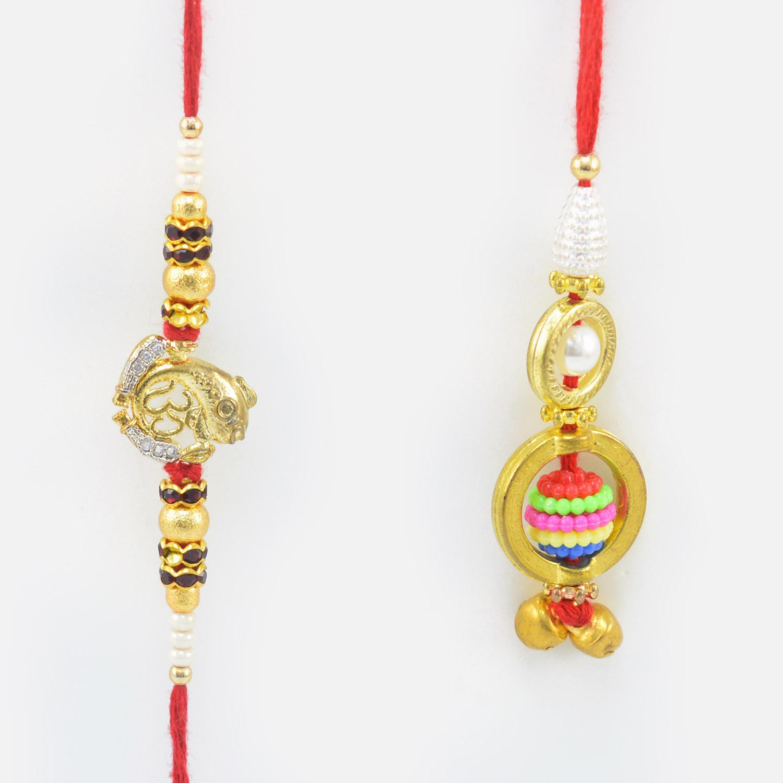 Auspicious Om Rakhi with Multi Color Lumba Bead
