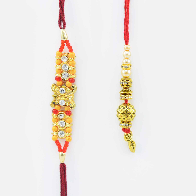 Lining Diamond Rakhi for Brother with Golden Bead Lumba Rakhi