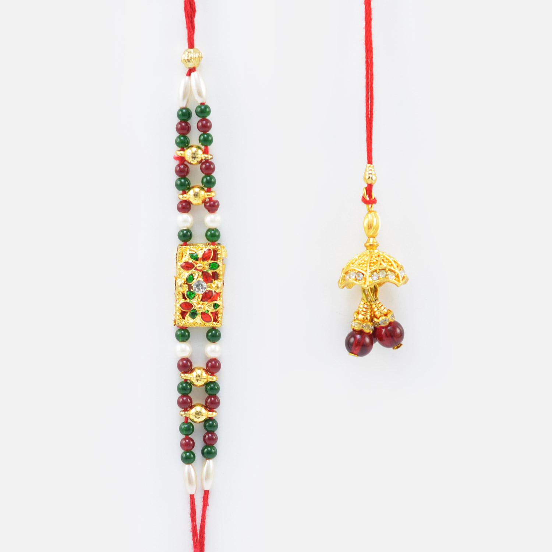 Dark Colore Beads Brother Rakhi with Cherra Type Lumba Rakhi Set of 2