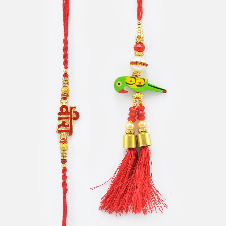 Red Veera Written Rakhi with Parrot Lumba Rakhi Set of 2 Rakhis