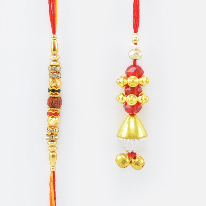 Thread Rudraksh Rakhi with Golden Lumba Rakhi set of 2 Rakhis