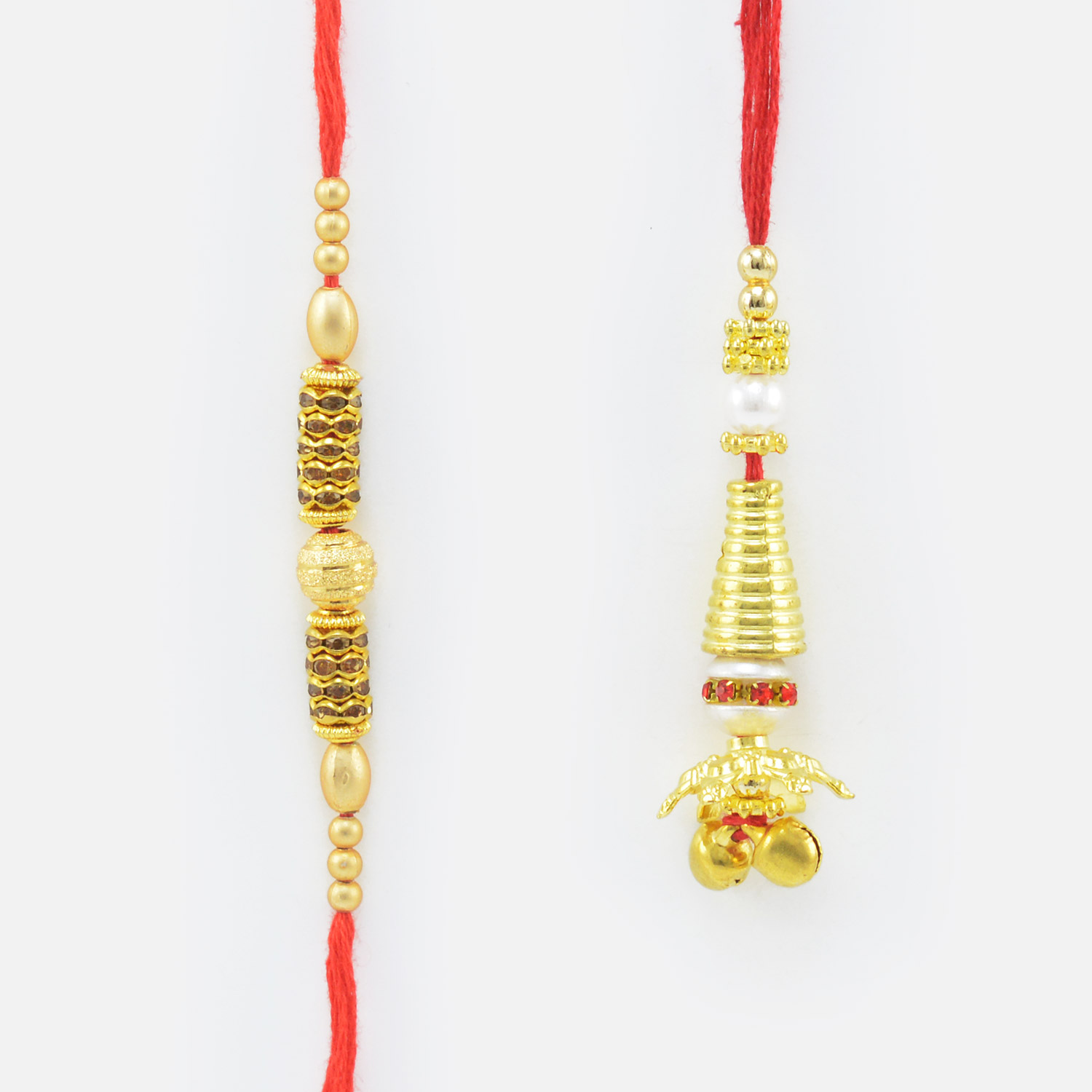 Gold Thread Jewel Rakhi for Brother With Golden Color Lumba