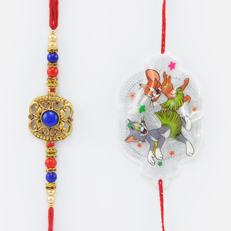 Multi Color Kundan Studded Rakhi for Brother with Tom and Jerry Kid Rakhi