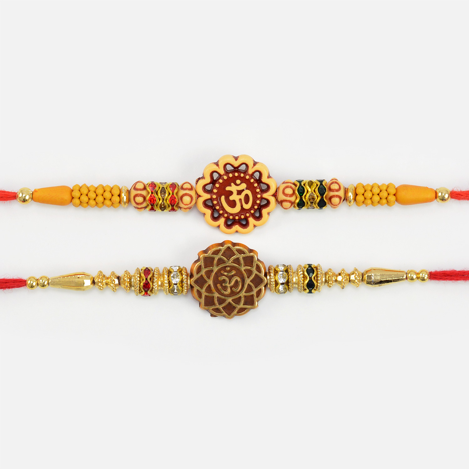 Divine Sandalwood and Beads Special Om Written Rakhis for Brothers