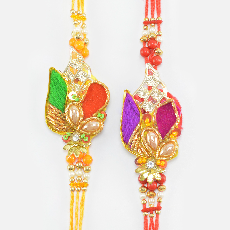 Multi Color Tri Threaded Dazzling Zardosi Rakhi Set of 2