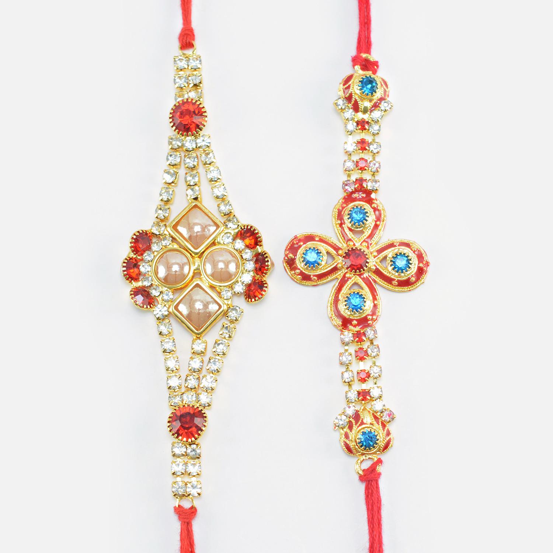 Pearl and Blue Stone Studded Diamond Amazing Rakhi Set of 2