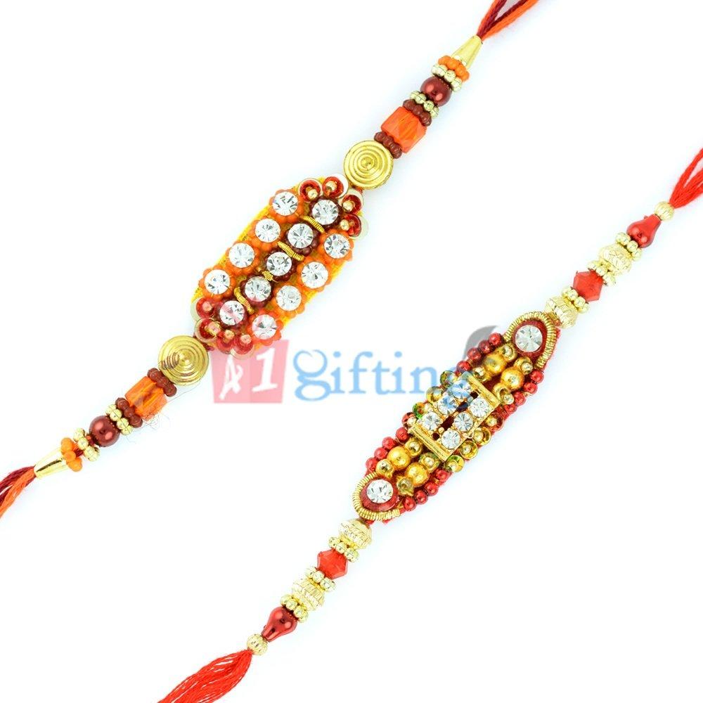 Glorious Golden Diamond Fancy Rakhi Gift Combo