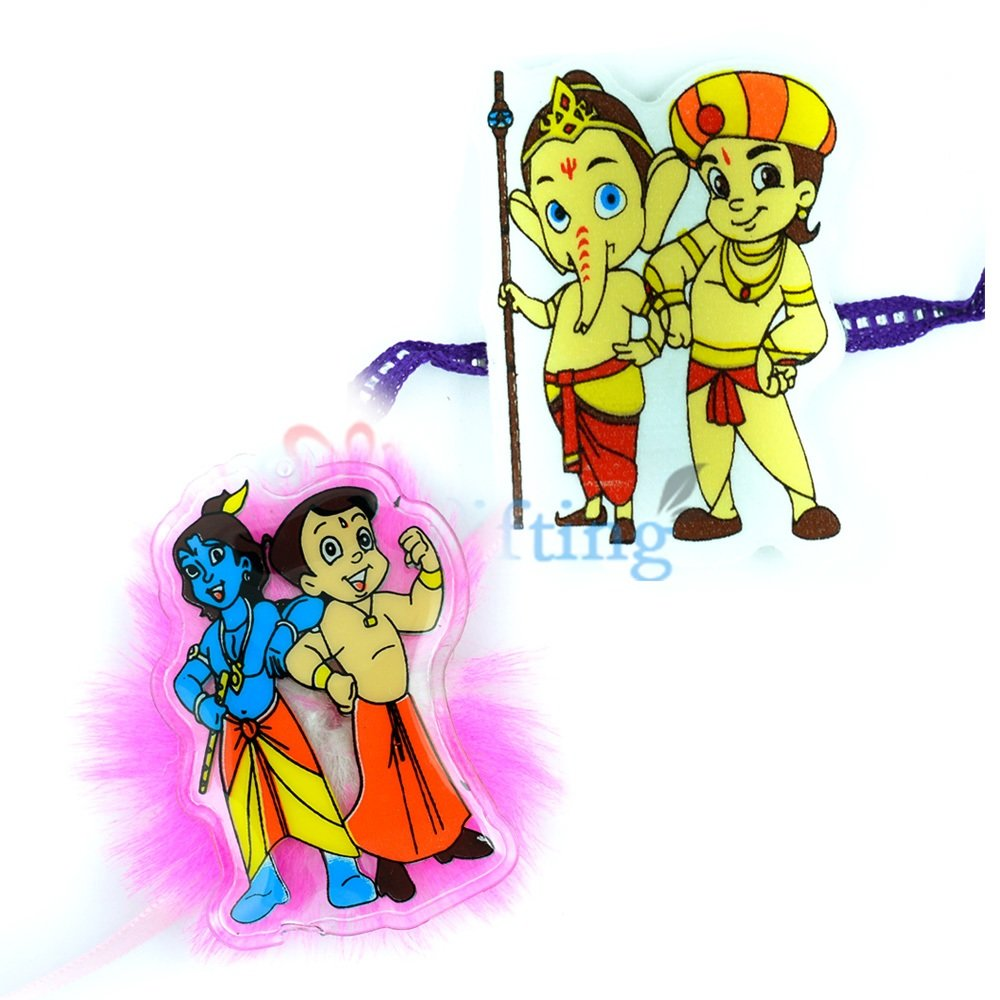 Famous TV Cartoon Ganesha with Krishna and Bheem Jodi Rakhi Set