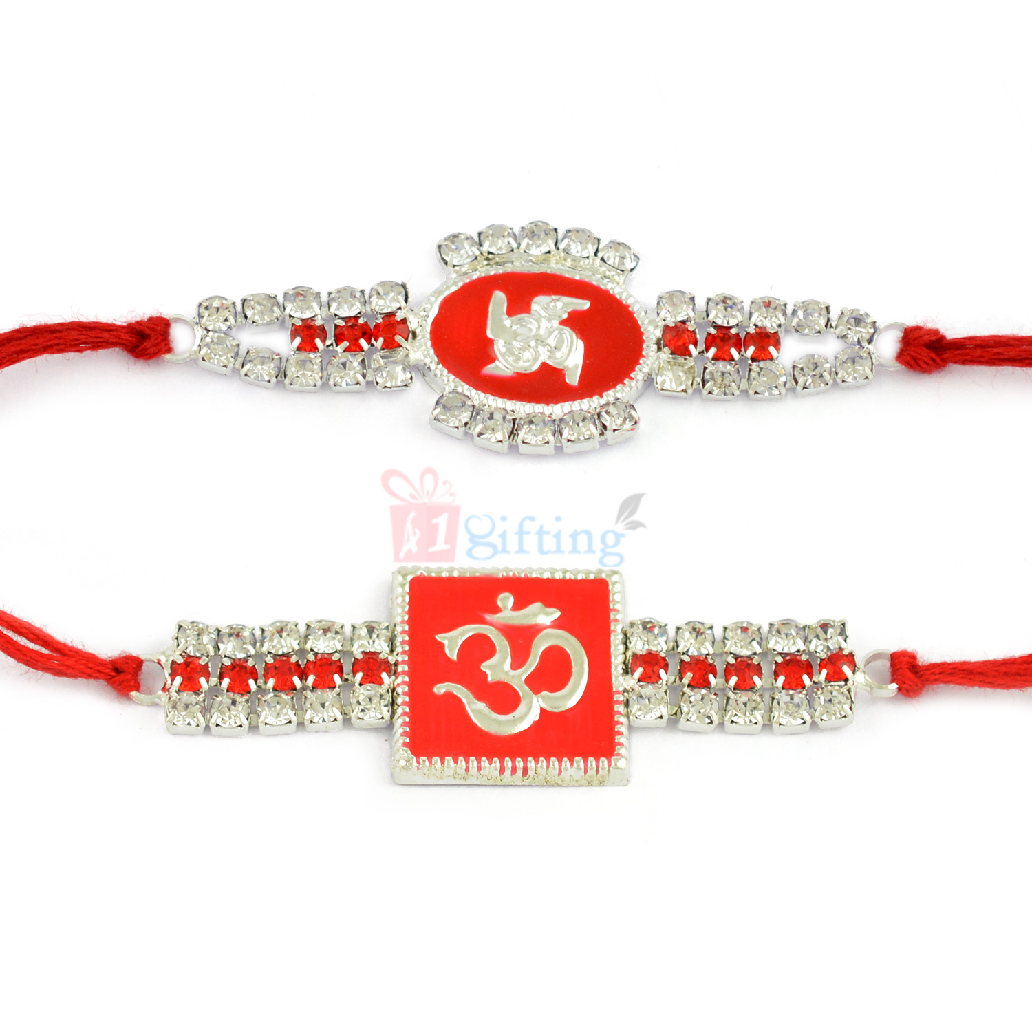 Silver Diamond Om and Swastik combo of 2 Red Rakhis