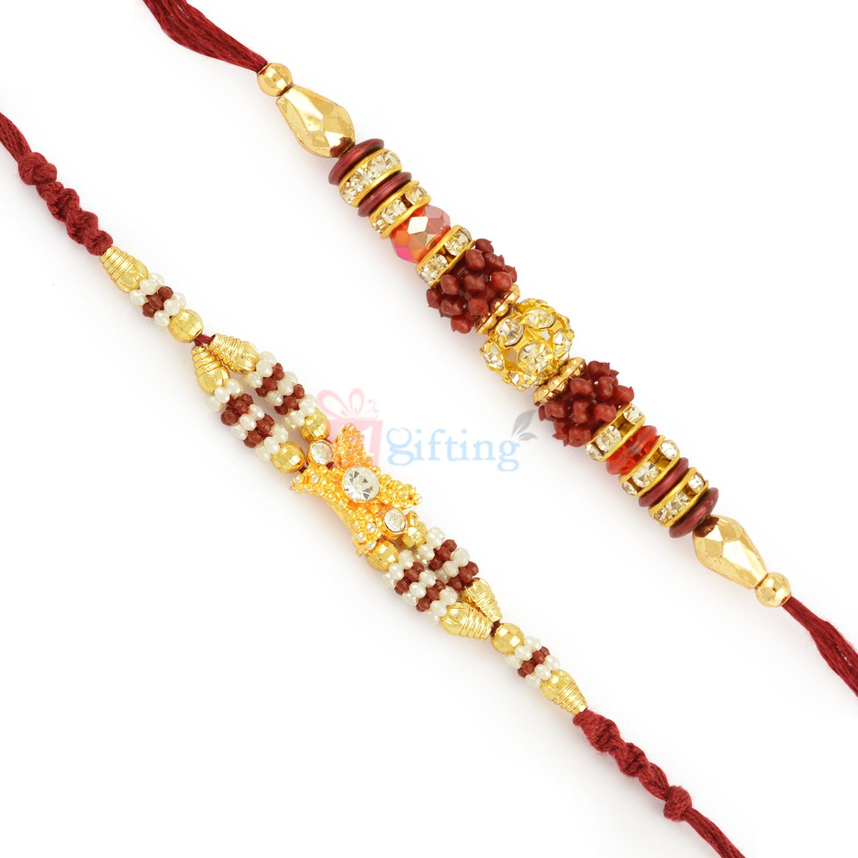 Golden Beaded Rakhi Combo of 2 Rakhis