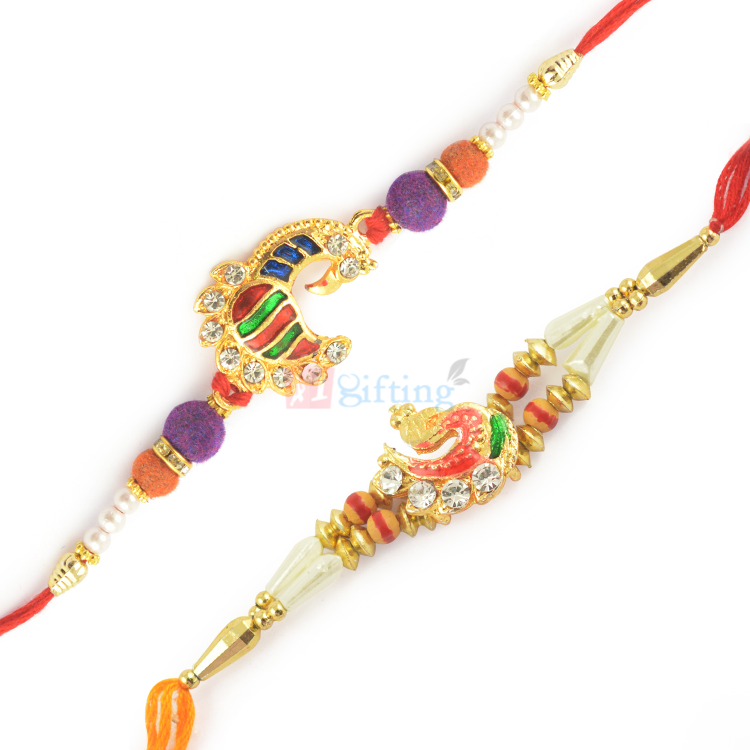 Golden Meena Work Peacock with Diamond and Pearl Rakhi Combo