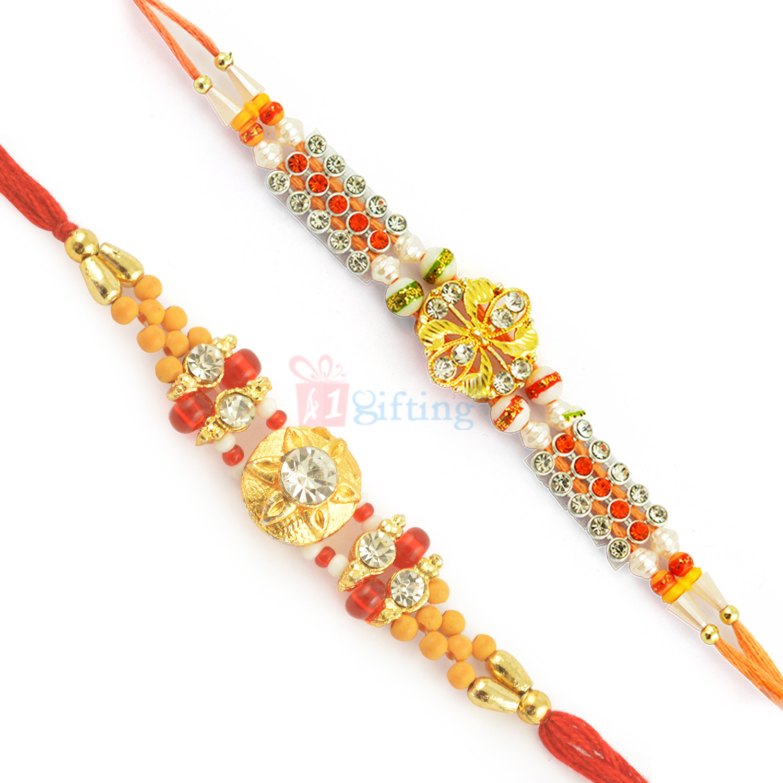 Fascinating Diamond and Golden Beads Moli Rakhi Combo of 2 Rakhis