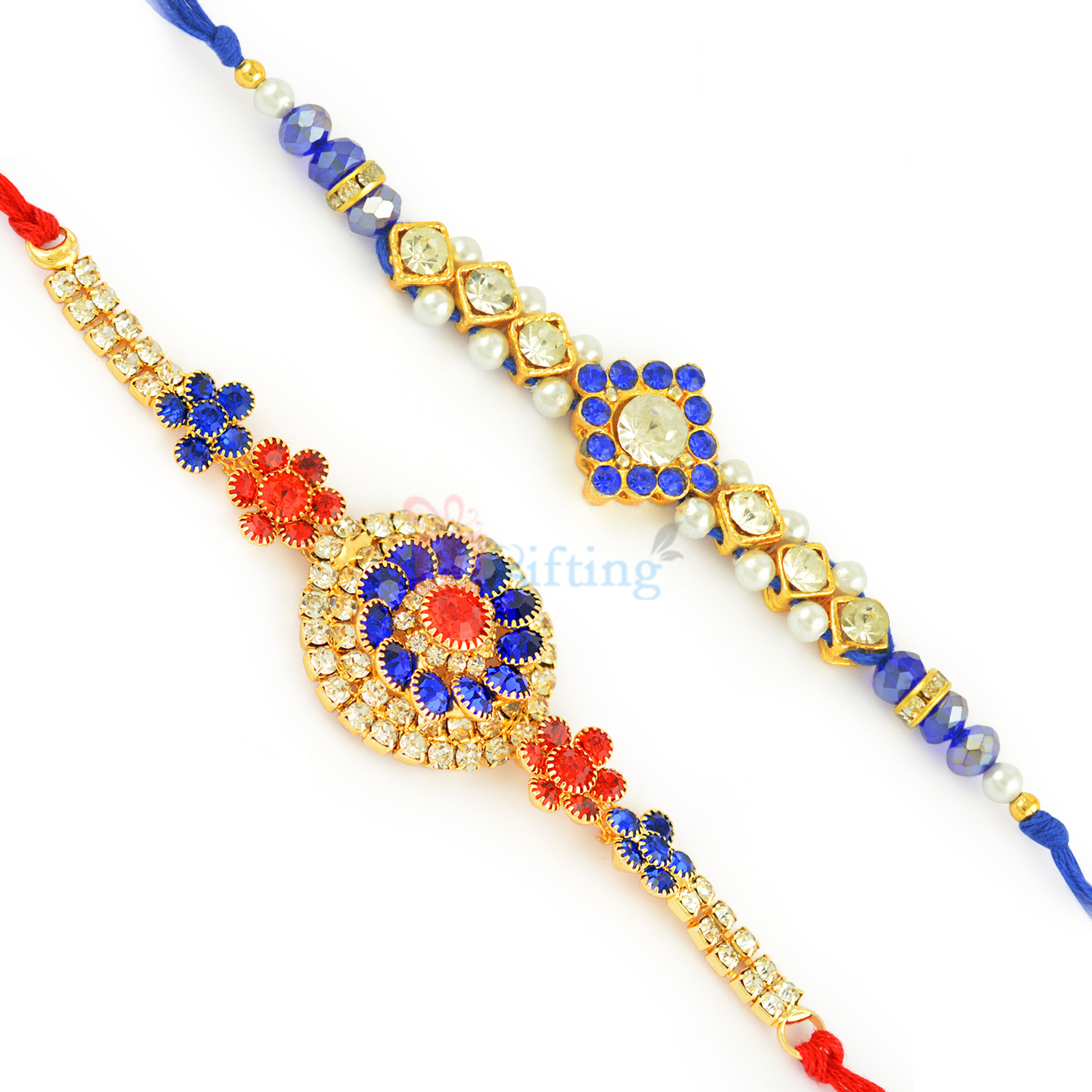 Red and Blue Combi Stones Rakhi Pair with Pearls