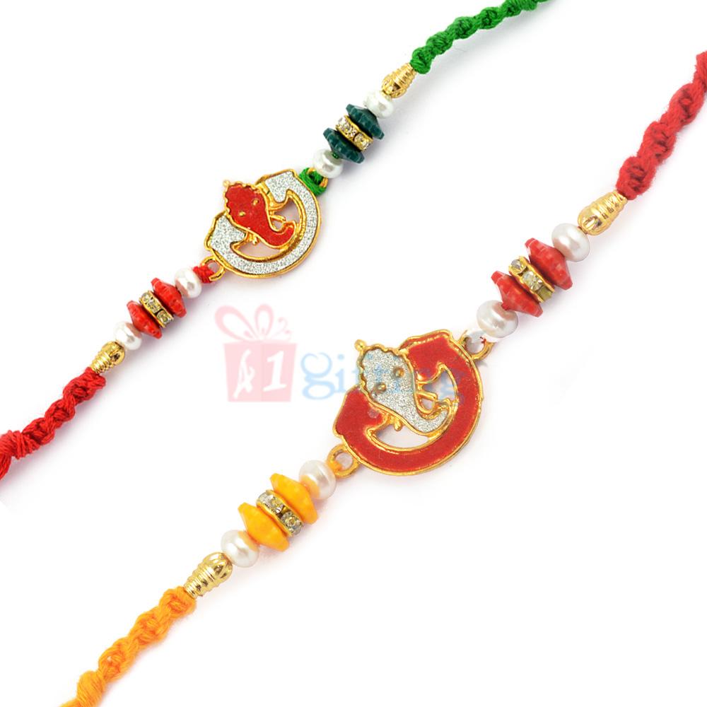 AD Theme Rakhi Combo of 2 Under Ganesha Blessings