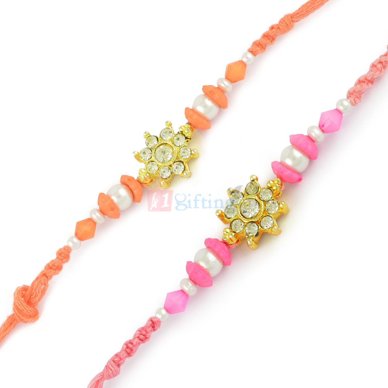 Pink Theme Twin Brother Combo Set of 2 Beads Rakhis