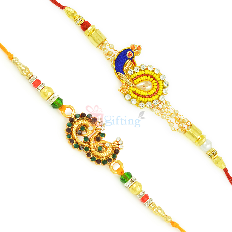 Double Mayur Colorful Golden Rakhi Designer Combo