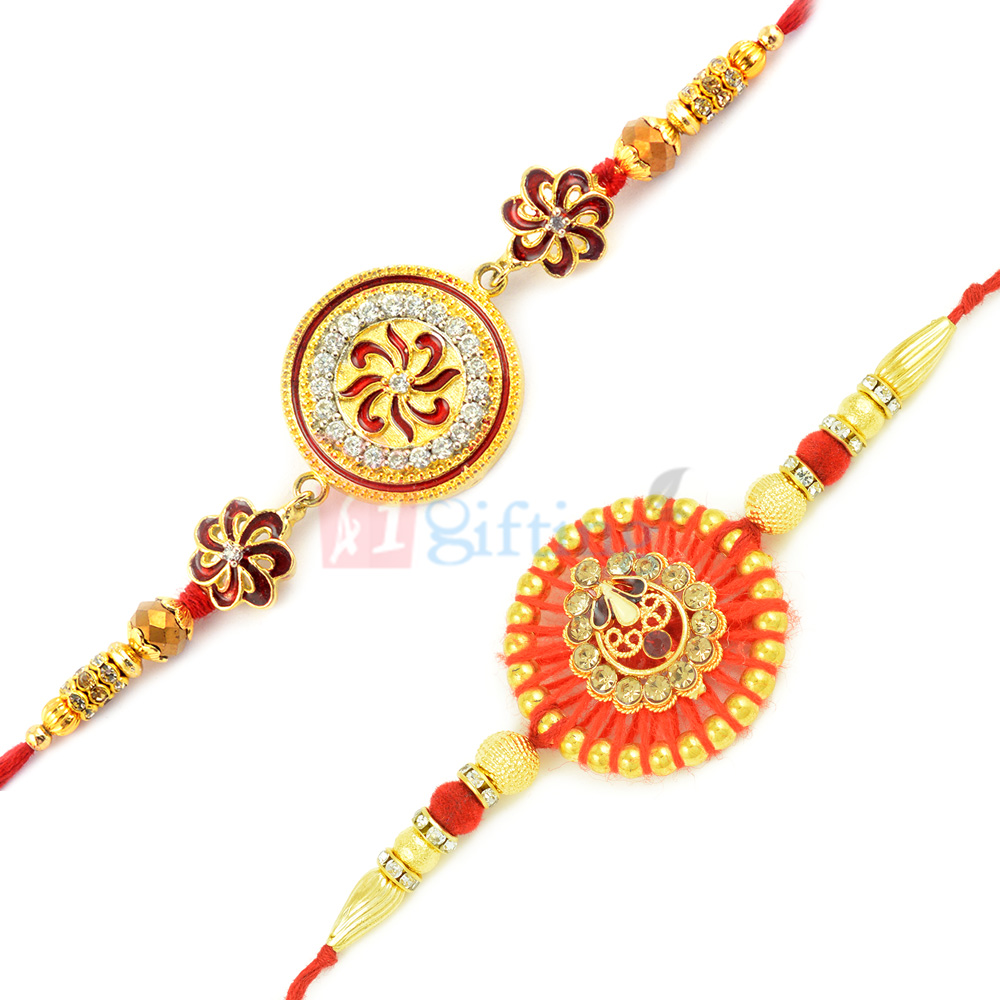 Graceful Golden and Meena Work with Jaipuri Rakhi Design