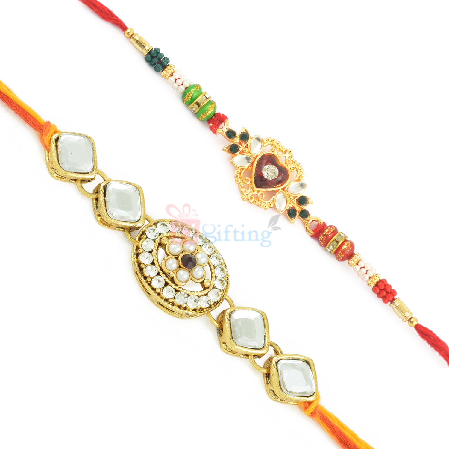Royal Set of 2 Exclusive Kundan and Stone Work Rakhis