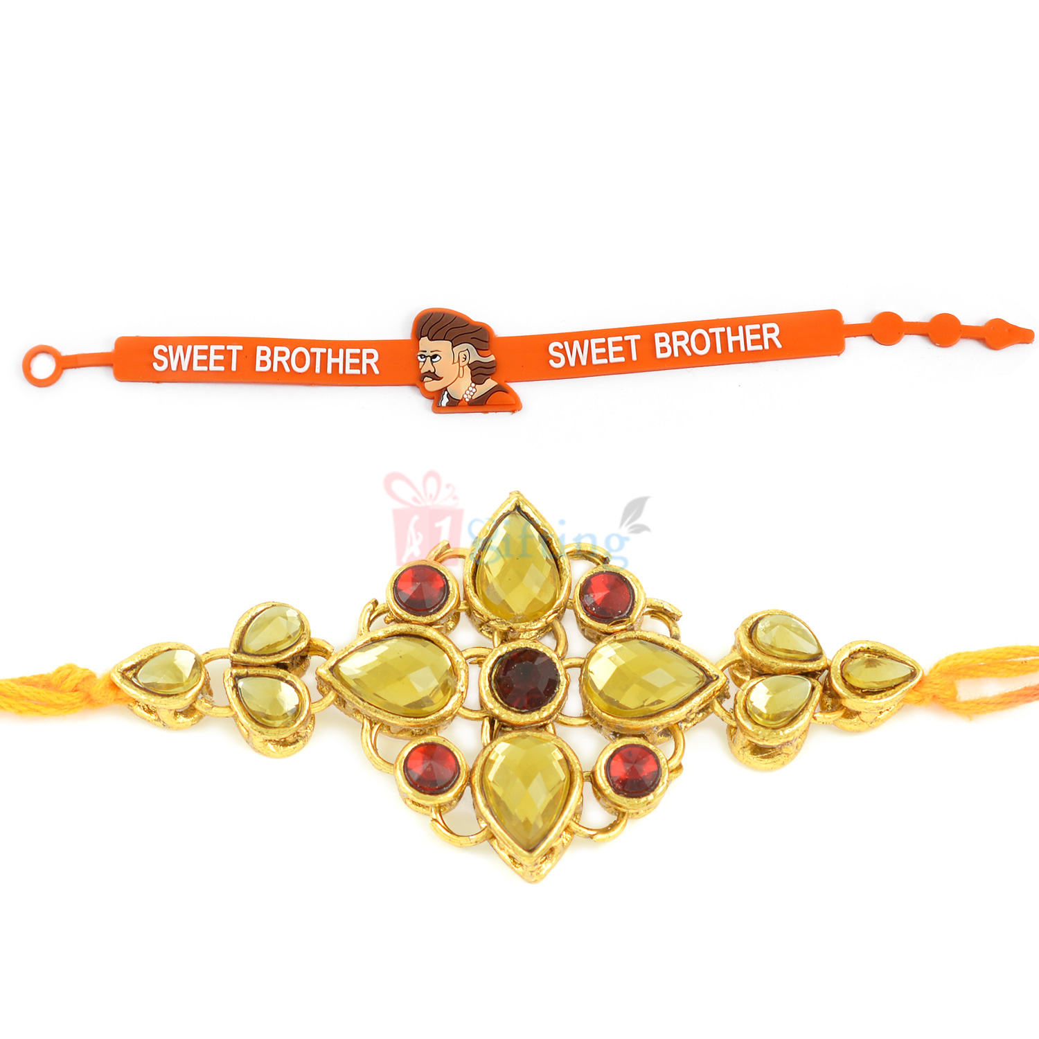 Classy Lemon Theme Moli Rakhi with Sweet Brother Rakhi Combo