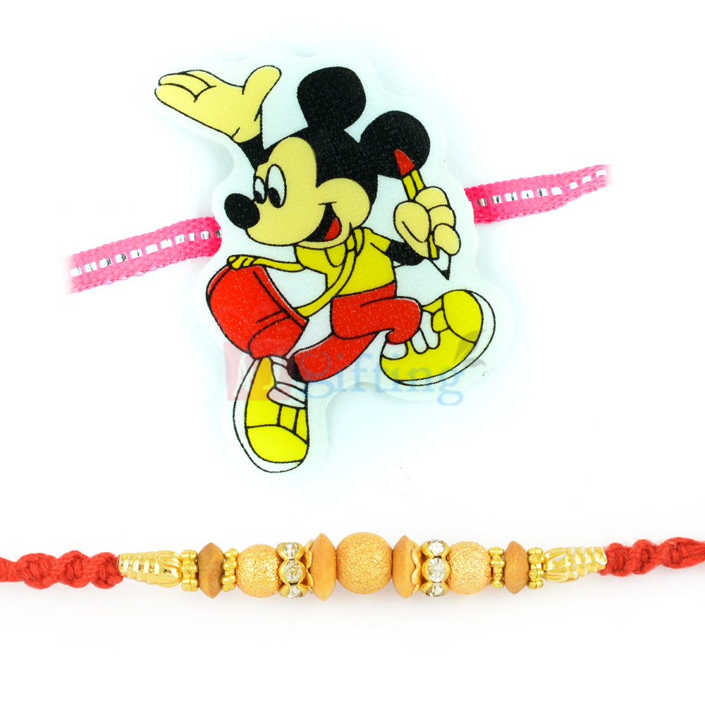 Gracefully Crafted Golden Beads Moli Dori with Micky Mouse Rakhi