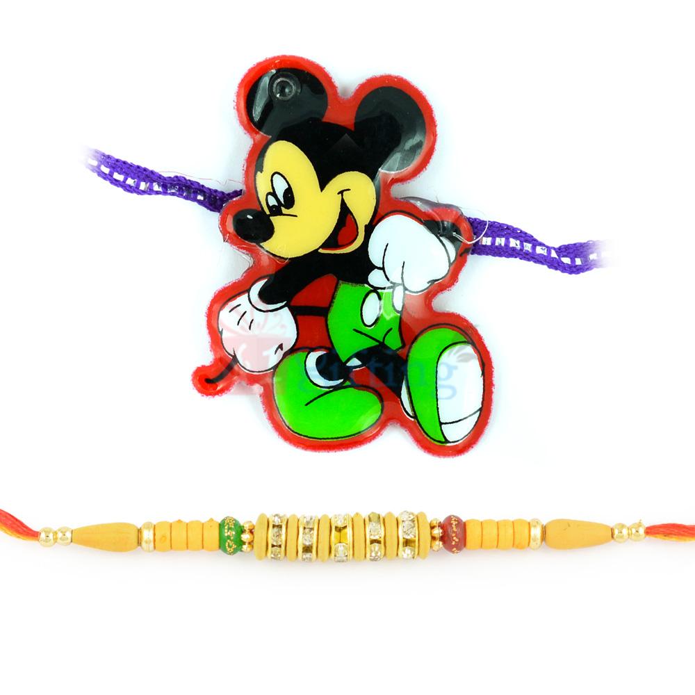 Smart Mickey Mouse and Beaded Work Rakhi Combo of 2