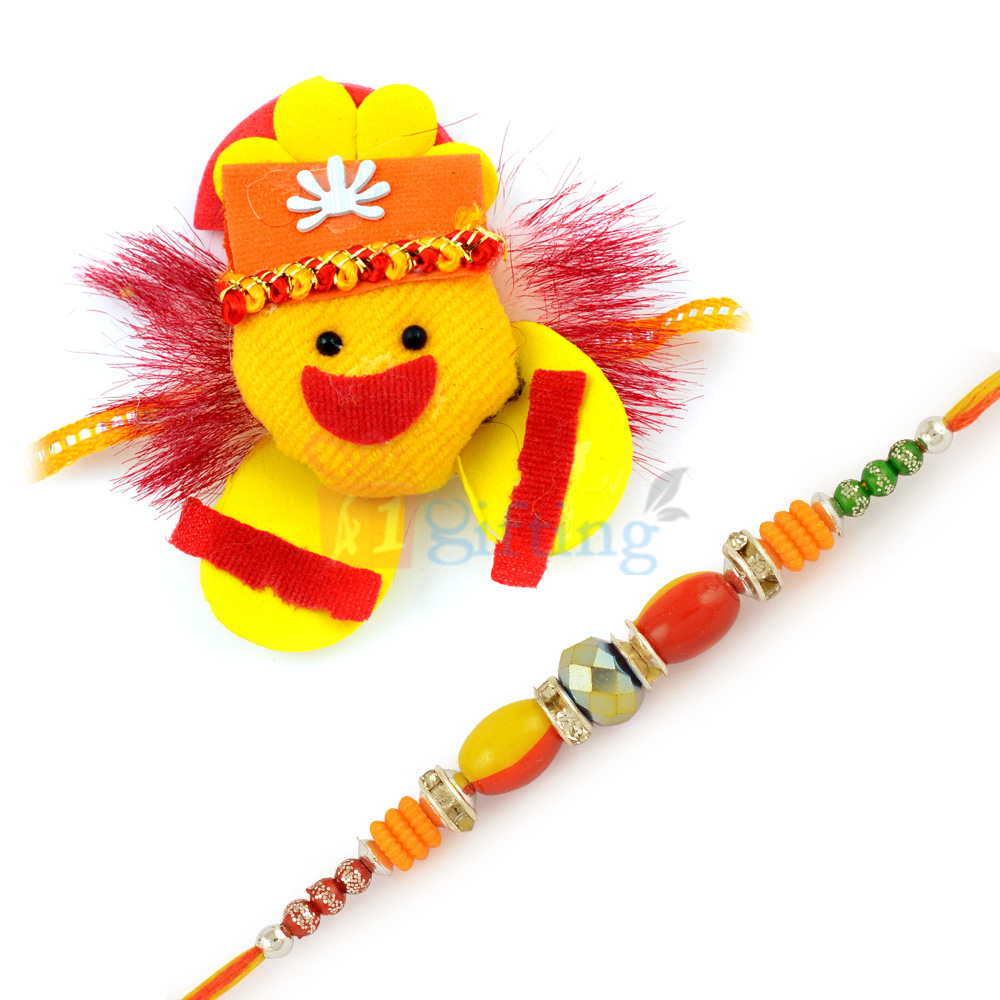Aesthetic Red and Yellow Eye Bead and Stone with Kids Rakhi Combo