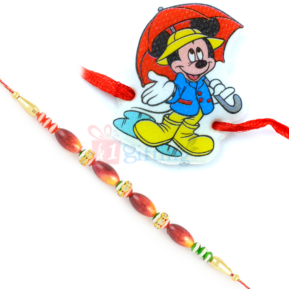 Marvellous Wooden Beads Rakhi and Rainy Mickey Rahi Set of 2