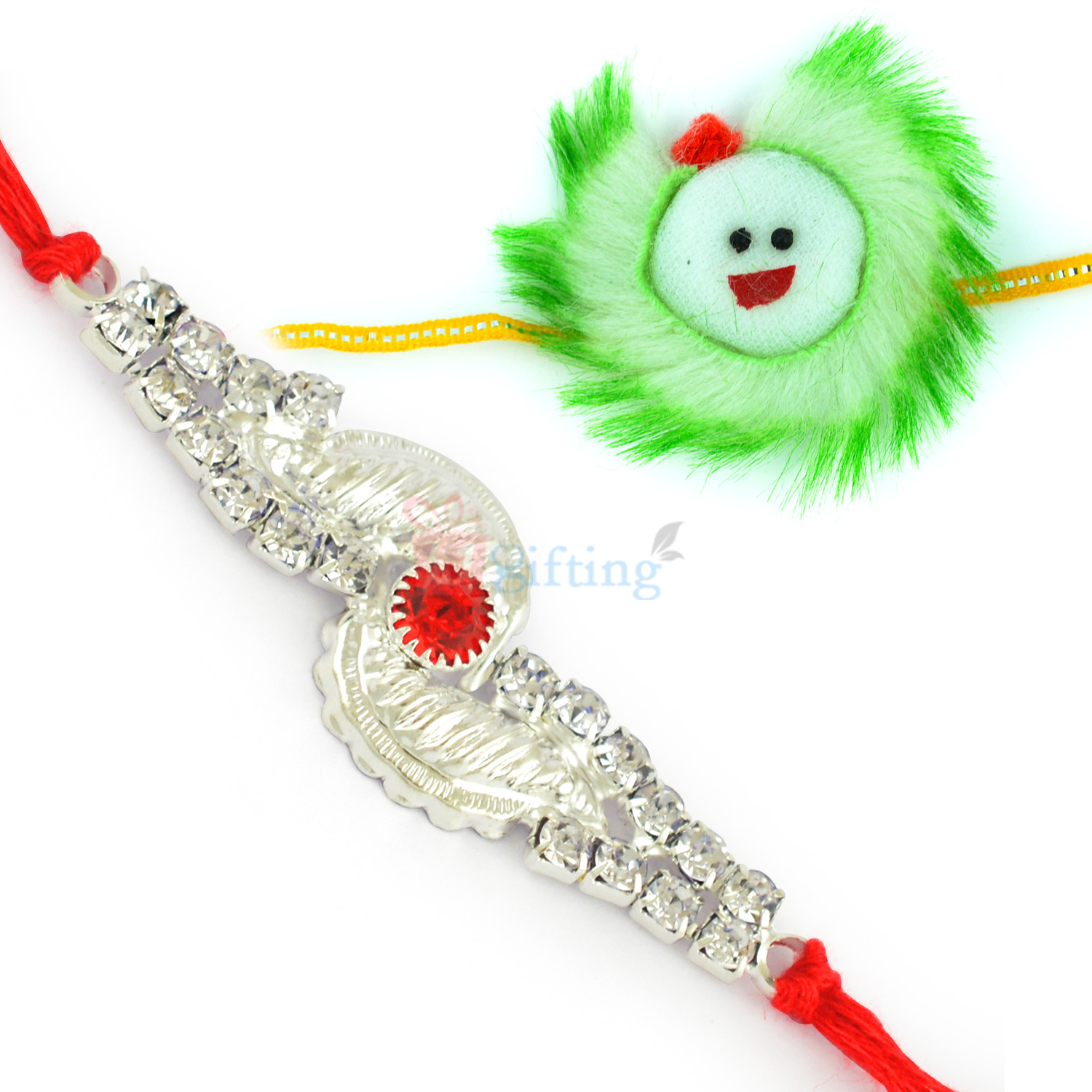 Astounding Silver Diamond Moli and Soft Fiber Kids Rakhi Hamper Set