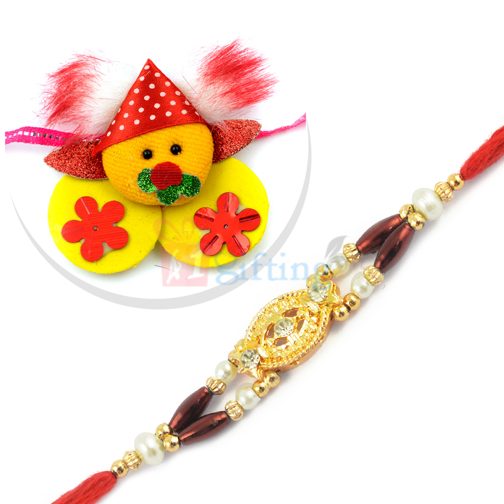 Attractive Golden Central Beads Rakhi with Soft Fiber Kids Rakhi Set